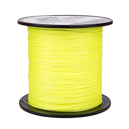 HERCULES Super Strong 100M 109 Yards Braided Fishing Line 30 LB Test for Saltwater Freshwater PE Braid Fish Lines 4 Strands - Fluorescent Yellow, 30LB (13.6KG), 0.28MM (Best Rated Weed Strains)