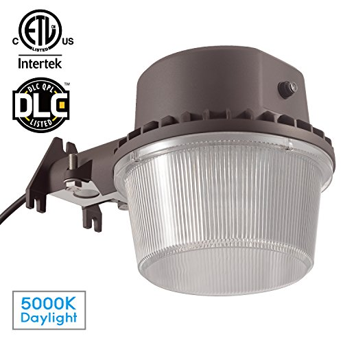 Dusk-to-dawn LED Outdoor Barn Light (Photocell Included), 35W (250W Equiv.), 5000K Daylight Floodlight, DLC & ETL-listed Yard Light for Area Lighting, Wet Location Available, 5-year Warranty