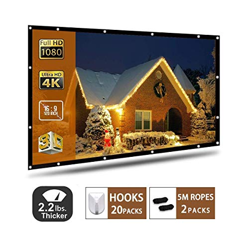 Projector Screen 120 Inch,Portable Projection Screen 16:9 HD 4K Foldable for Home Theater Cinema Indoor Outdoor Front and Rear Projection by AYAOQIANG