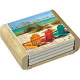 CounterArt Absorbent Coasters in Wooden Holder, Beach Chairs Design, Set of 4