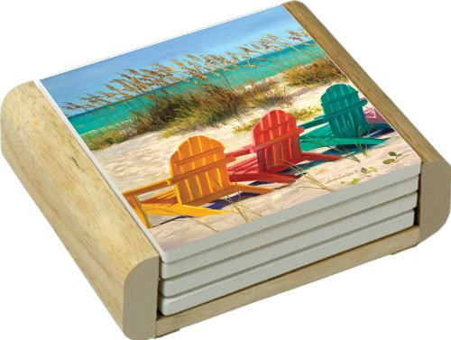 Cork Bottom Coaster (CounterArt Absorbent Coasters in Wooden Holder, Beach Chairs Design, Set of 4)
