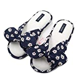 Millffy 2018 New Fashional Summer Floral Sweet Cotton Slippers Japanese Flowers Women's Slippers Shoes (Women US 9/10 Or UK 7/8 Or EU 40/41, Navy Bule)