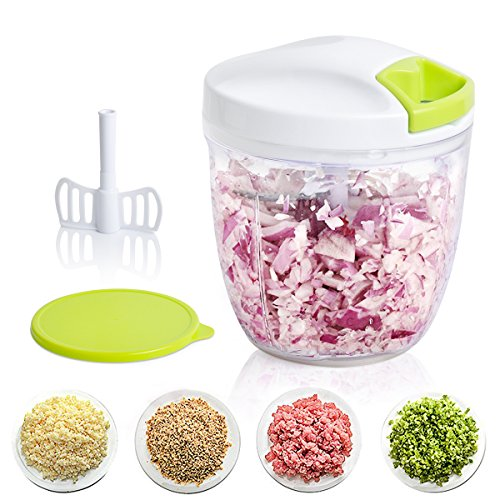 Manual Food Chopper for Salad Salsas Pesto Baby Food, Onion Chopper, Salad Chopper, Vegetable Cutter/Mixer/Dicer for Fruit, Nut, Herbs, Handheld Veggie Chopper with Sharp 5 Blades, 1000 ml Mint Green by Vomelon