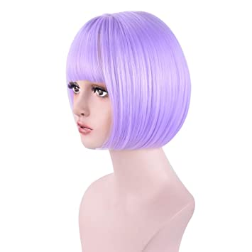 "Reecho 14"" Medium Short Bob Wig With Bangs Synthetic Hair For White Black Women Cosplay Color: Black by Reecho"