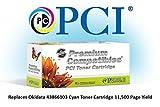 Tinta reemplazo 43866103-PCI y cartucho de tóner para impresoras Okidata, Cyan