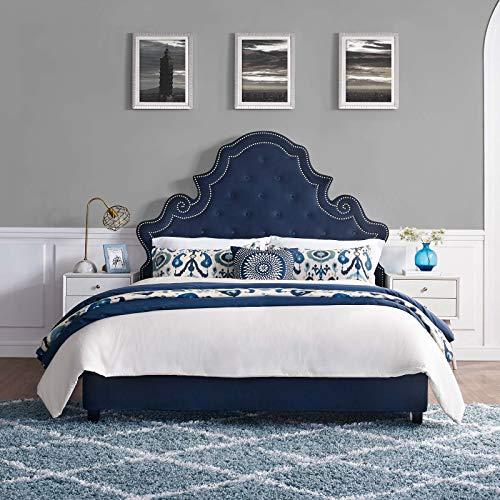 Modway MOD-5808-NAV Valentina Queen Tufted Nailhead Performance Velvet Platform Bed, Navy
