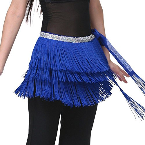 Pilot-trade Lady's Belly Dance Costume Hip Scarf Belt Tribal Fringe Tassel wrap Belt Dark blue (Dark Dance Costumes)