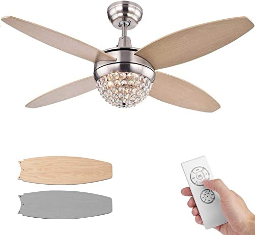 Modern 52inch Crystal Ceiling Fan Light and Remote Control Reversible Wooden Blades Yellow Silver Double Color Ceiling Fan Chandelier Crystal Frame Living Room/Restaurant/Hall