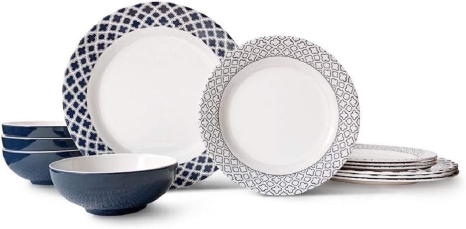Amazon Com Bowla 12 Piece Melamine Dinnerware Set Service For 4 Bluegrass Dinnerware Sets