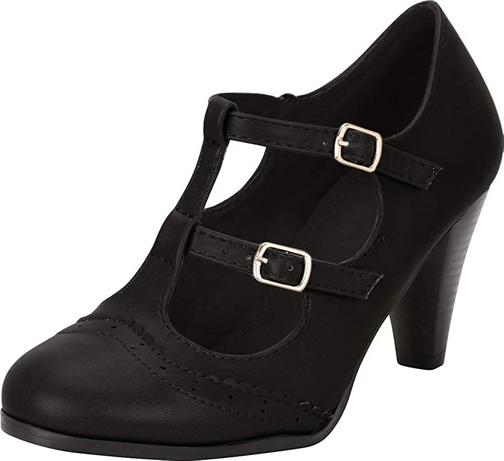 Women's 1920s Shoe Styles and History Cambridge Select Womens Vintage Retro Pinup Wingtip T-Strap Mary Jane Mid Heel Pump $43.09 AT vintagedancer.com