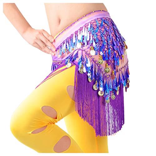 (WZT Belly Dancing Belt Colorful Waist Chain Belly Dance Hip Scarf Belt (Purple))