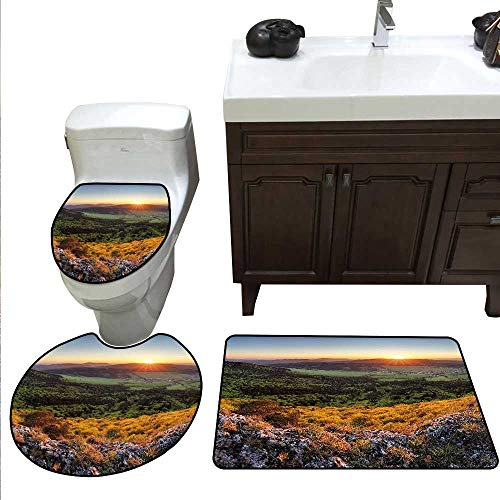 (Nature 3 Pc Bath Rug Set Balkans Slovakian Mountain Valley at Sunset Sky Surreal Landscape Rug Contour, Mat and Toilet Lid Cover Amber Olive Green Pale Blue)