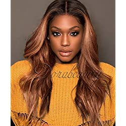 """Dorabeauty 2T #1B/30 Dark Root Ombre Human Hair Lace Front Wig 150 Density with Adjustable Straps Brown Wig for Black Women 20"""" inch"""