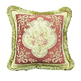 Corona Décor French Woven Rose/ Green Floral Design Wool and Cotton Decorative Throw Pillow