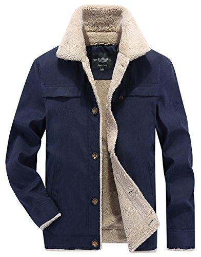 Comodo Casuale Uomini Più Inverno Giacca blu Moxishop Caldo Velluto Leggero Lana Antivento Allentato Degli Di Cappotto Imbottito D'agnello K2173 0wwxqf