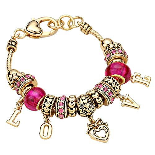 Rosemarie Collections Women's Pink Love Charms Beaded Bracelet (Gold Color) (Charm Pink Beaded)