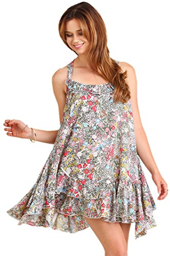Ruffled Floral Print Dress Peasant Womens Umgee Cream gSWnqxfCw6