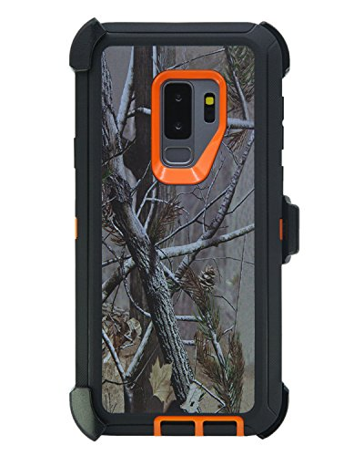 WallSkiN Turtle Series Cases for Samsung Galaxy S9 Plus/Galaxy S9+ (Only) Tough Protection with Kickstand & Holster - Pinus (Tree Bough/Orange)