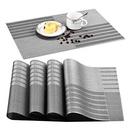 Blueshadow Eco-Friendly Placemats Heat-Resistant Insulation Stain Resistant Placemat for Dining Table Durable Woven Vinyl Kitchen Washable Table Mats Placemat Set of 4