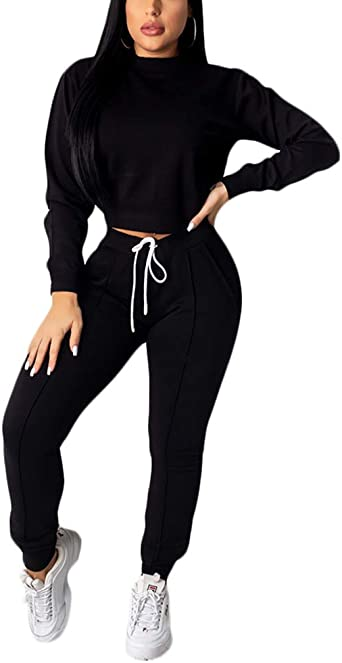 Women Tracsuit Sets Solid Color Hoodie Pullover Top and High Waist Bodycon Long Pants 2 Piece Outfits
