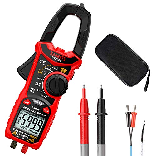 KAIWEETS Digital Clamp Meter T-RMS 6000 Counts, Multimeter Voltage Tester Auto-ranging, Measures Current Voltage Temperature Capacitance Resistance Diodes Continuity Duty-Cycle (AC Clamp Meter)