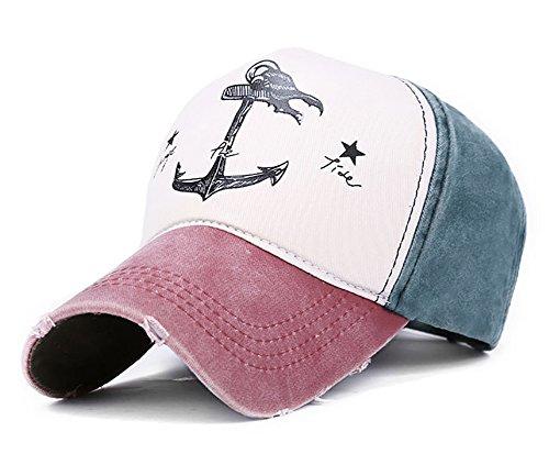 Glamorstar Pirate Ship Anchor Baseball Hat Printing Adjustable Hip-Hop Cap Burgundy Navy