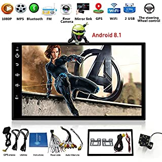 Discount Android 8.1 Car Stereo WiFi Double Din with GPS Navigation 7 Inch Touch Screen Car Stereo Bluetooth RDS/FM/AM Quad Core CPU 16GB ROM 1GB DDR3 Support Backup Camera and Steering Wheel Control