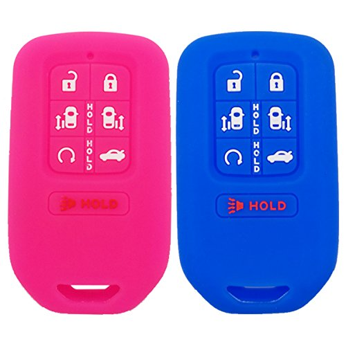 (2Pcs Coolbestda Silicone Key Fob Remote Accessories Protector Holder Skin Jacket Cover Case for 2018 Honda Odyssey)
