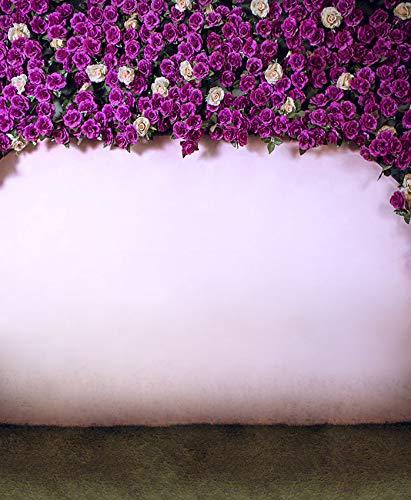 写真撮影用背景幕 8×10フィート バイオレットカラー 花咲く花 ピンク 素朴なヴィンテージ風 屋内写真ブース背景 スタジオ用   B07M6HRFPX