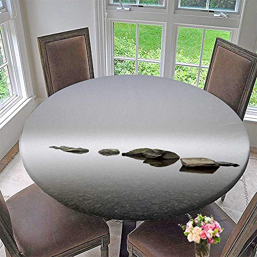 (PINAFORE HOME Simple Modern Round Table Cloth a Group of boulders Lead in to The Water Fog for Daily use, Wedding, Restaurant 50