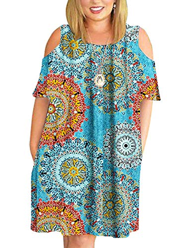 Plus Size Swimwear Cover Ups - Floral Beach Bikini Cover Ups for Swimwear Women Plus Size Casual Loose T Shirt Dresses with Pockets