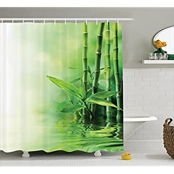 Asian Decor Shower Curtain Set By Ambesonne, Bamboo Stalks Reflection On  Water Blurs Freshness Japanese