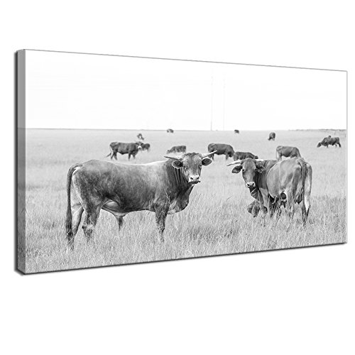 LevvArts Animal Print Canvas Wall Art Grey and White Herd of