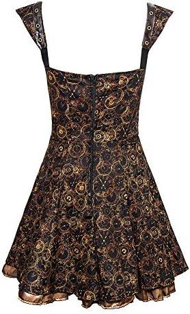 Golden Steampunk Women\'s Timeclocks Strap & Chain Dress - X-Large, (Black)