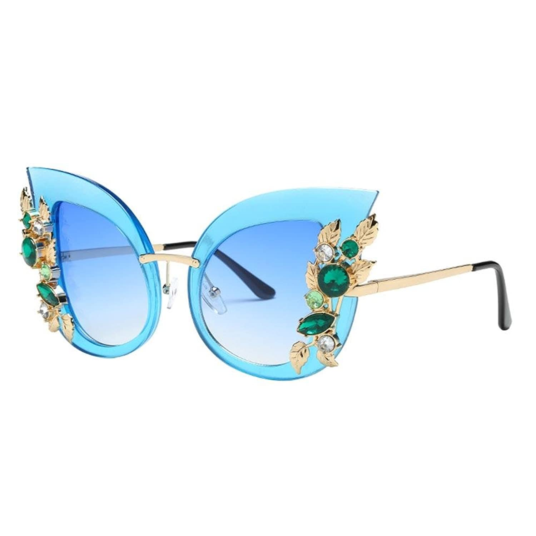Tijn Occhiali da Sole Cat Eye Strass Moda per Donna Blu 5TUIepRF1