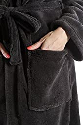 Wrapped In A Cloud Women\'s Plush Spa Bathrobe,Charcoal Gray,Large/X-Large