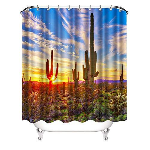 VividHome Saguaro Cactus Decor Shower Curtain Set Cacti Rural Wild Sunset Landscape Picture Print Waterproof Curtain Desert Bathroom Curtain with 12 Rust Proof Hooks 72x72 Inch]()