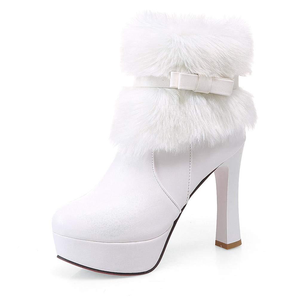 HOESCZS 2018 große größen 32-43 Beste qualität hinzufügen Fell Frauen Schuhe Frau Stiefeletten Mode High Heels Winterstiefel Frau Schuhe,  | Umweltfreundlich  | Moderner Modus  | Spezielle Funktion