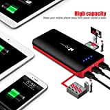 EC Technology 22400mAh Power Bank Ultra High Capacity External Battery 3 USB Output External Battery Pack With LED Flashlight Portable Charger for iPhone, iPad, Samsung, Nexus, HTC and More- Black & Red