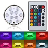Submersible LED Lights with Remote Control by FLYEEGO - RGB Multi Color Changing Waterproof Light for Vase Base, Floral, Aquarium, Pond, Wedding, Halloween, Party, Christmas - Battery Powered (1 Pack)
