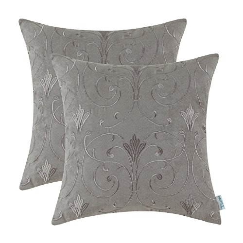 Suede Floral Pillow (Pack 2 CaliTime Cushion Covers Throw Pillow Cases Shells 18 X 18 Inches, Soft Faux Suede Embroidered, Scrolled Floral, Grey Khaki)