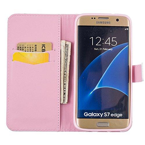 Carcasa para smartphone (PU y silicona, para smartphone Samsung Galaxy S7 Edge , diseño estampado, elemento conector para eliminar el polvo) negro 7 2