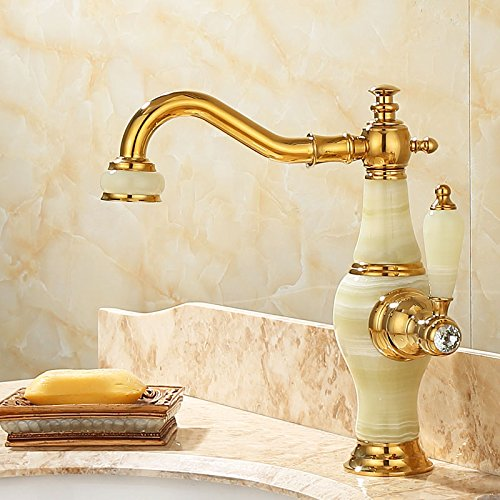 GBHNJ Taps Bathroom Basin Single Handle Single Hole Gold Color Jade Stone Hot And Cold Mixer Rotate T