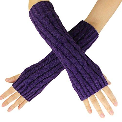 ManxiVoo Elegant Unisex Hemp Flowers Fingerless Knitted Long Gloves (Purple)