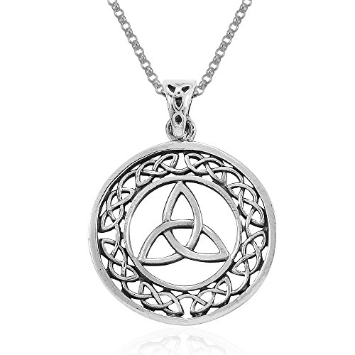 MIMI Sterling Silver Eternity Circle Trinity Celtic Knot Pendant Necklace, 18 inches