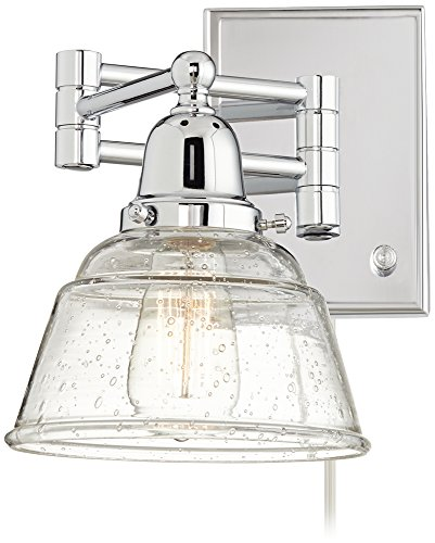 Glass Swing Arm Lamp (Polished Nickel and Speckled Glass Swing Arm Wall Lamp)