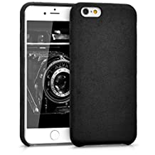 kwmobile Case for Apple iPhone 6 / 6S - smartphone cover plastic softcase protective case alcantara case cover backcover in black
