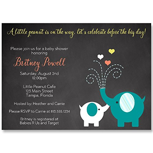 Elephant Baby Shower Invitations, Chalkboard, Gender Neutral, Teal, Orange, Aqua, Little Peanut, Personalized, Set of 10 Printed Invites with Envelopes,