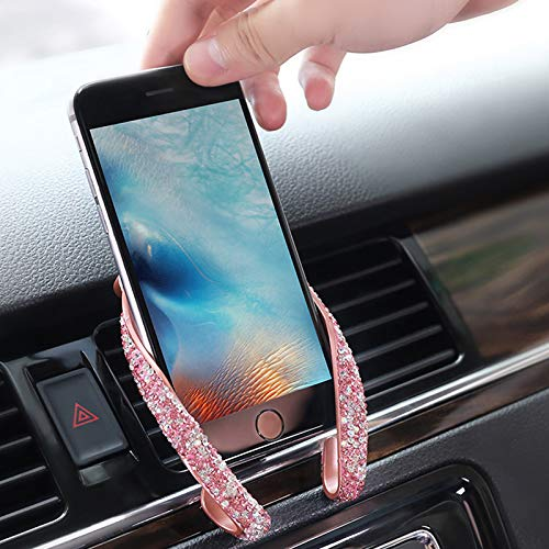 yeehao Universal Car Phone Air Vent Mount Clip Holder with Bing Crystal Rhinestone