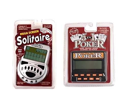 Mozlly Value Pack - Mega Screen Solitaire 2 in 1 Electronic Portable Game AND Classic 5-in-1 Poker - Electronic Boardgame and Electronic Game - Item #K119002-119012